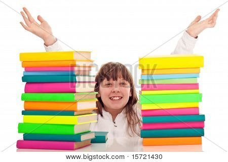 Punctate Girl With Books