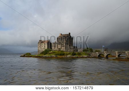 Storms brewing over Eilean Donan Castle in Scotland.