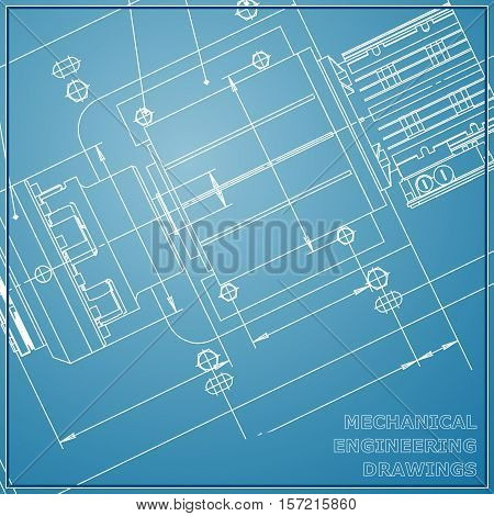 Mechanical engineering drawing blue background. Engineering Vector