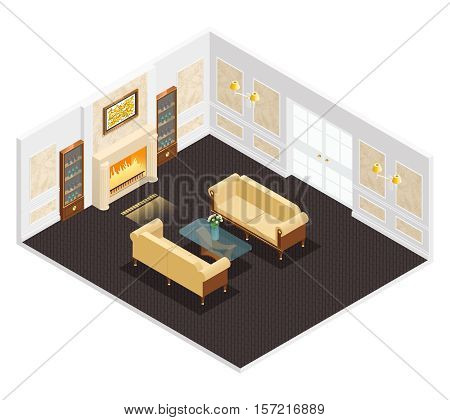 Isometric luxury interior for living room with fireplace sofas table and bookcases illustration