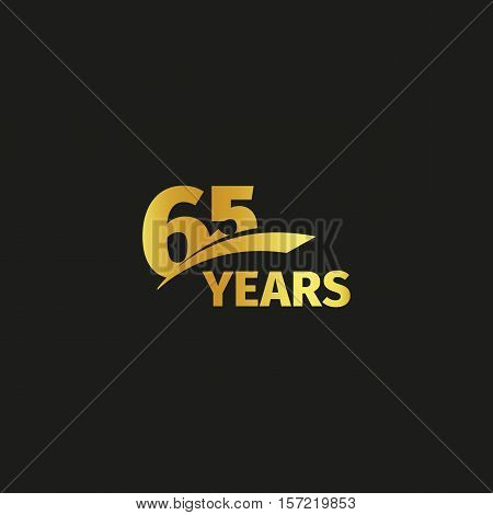 Isolated abstract golden 65th anniversary logo on black background. 65 number logotype. Sixty-five years jubilee celebration icon. Birthday emblem. Vector illustration