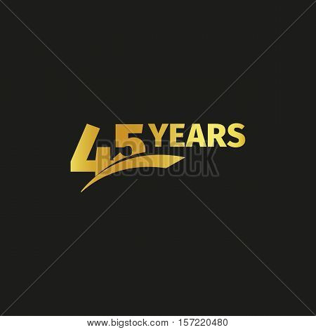 Isolated abstract golden 45th anniversary logo on black background. 45 number logotype. Forty five years jubilee celebration icon. Forty-fifth birthday emblem. Vector illustration