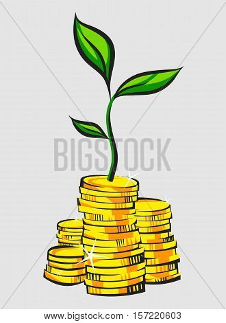Golden coins stacks with money tree. Retro style vector illustration.