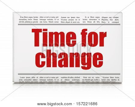 Timeline concept: newspaper headline Time For Change on White background, 3D rendering