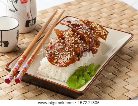 Teriyaki chicken served with rice on a rectangular plate.