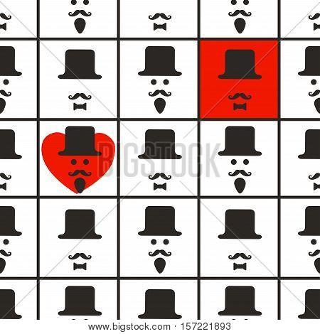 Interesting geometric pattern for men on a white background. Men's faces in the squares and red hurt. Background for gentlemen.