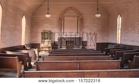 The abandoned Church of the Ghost town Bodie