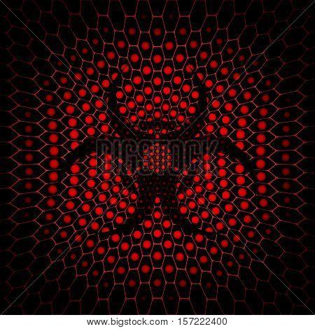 Vector dark red hexagon background with dark biohazard symbol silhouette.