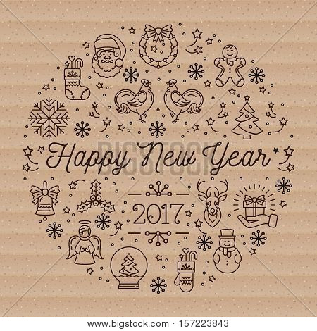 Happy New Year 2017 layout linear icons on cardboard background, Vector trend circle composition. Elegant minimal design, thin line art style. Vector Minimalistic Holiday greeting card, flyer, banner