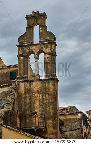 tower of orthodox church in Corfu island Greece
