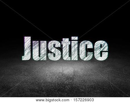 Law concept: Glowing text Justice in grunge dark room with Dirty Floor, black background