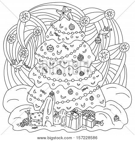 Coloring book Xmas theme. Gift card. Hare and birds adorn the Christmas tree. Vector