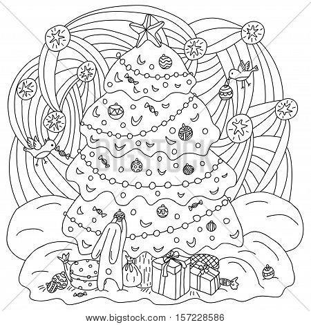Coloring book Xmas theme. Gift card. Hare and birds adorn the Christmas tree. Vector