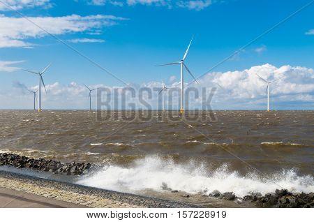 offshore windmill farm in the IJsselmeer at Urk Netherlands