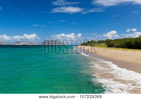 St Kitts from a beach on St Nevis in the Caribbean