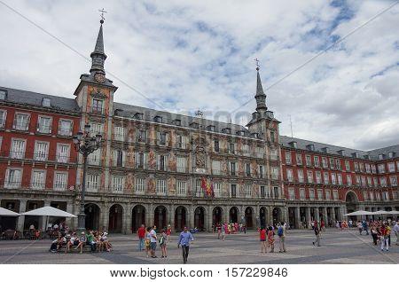 Madrid, Spain - July 4, 2010: Tourist on mayor square