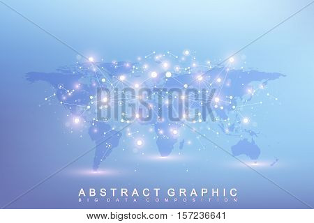 poster of Graphic abstract background communication. Big data complex with compounds. Perspective backdrop with World Map. Minimal array Big data. Digital data visualization. Scientific vector illustration