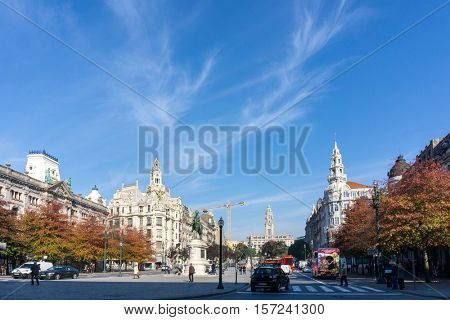 PORTO, PORTUGAL - November 18, 2016. Tourists on foot Graben Street Porto, Portugal, Europe, is the second largest city in Portugal, has a population of 1.4 million.