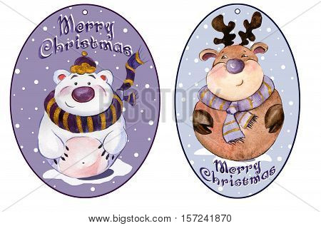 Rounded christmas tags with funny polar bear and caribou wearing purple scarfs with golden details. Watercolor painting. Hand painted.