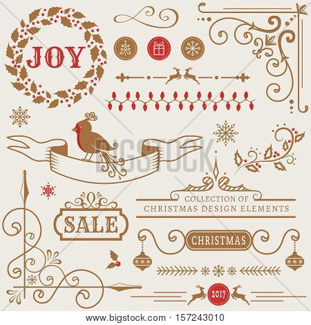 Set of Christmas and New Year decorations isolated on white background. Collection of vector elements for greeting card party invitations sale label page and web decor or other holiday design.