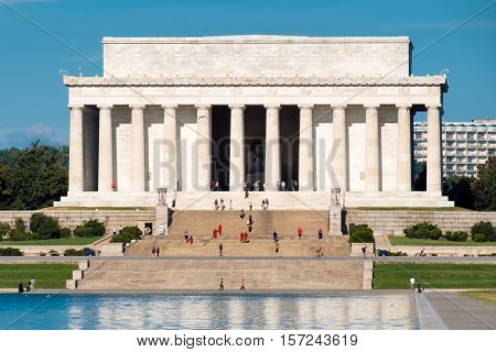 The Lincoln Memorial on a clear summer day in Washington D.C.