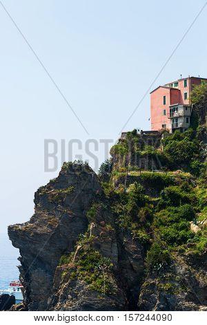 exposed house at cliffs of Manarola, Cinqueterre, Italy