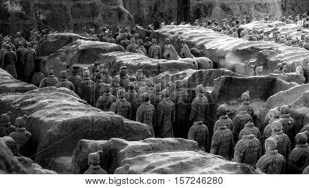 One Of Unesco Heritage Site;terra-cotta Warriors; Restored Terra Cotta Warriors In A Museum In Xian,