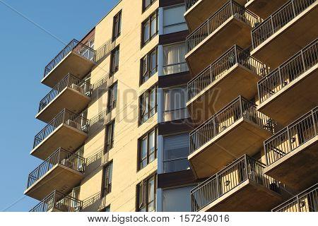 apartments building residential condo balconies structure urban facade