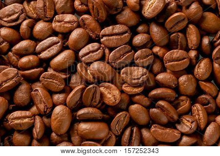Texture photo of coffee beans view from above, foto de café