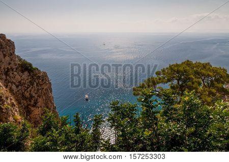 Boat and beautiful sea in Capri - Italy