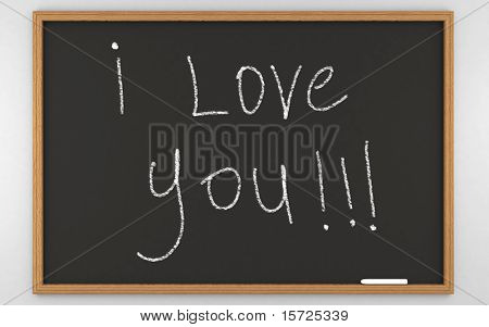 i love you... photorealistic 3d rendered BlackBoard