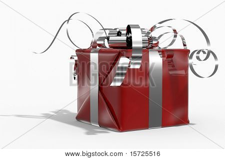 Colour gift box(red) on white background