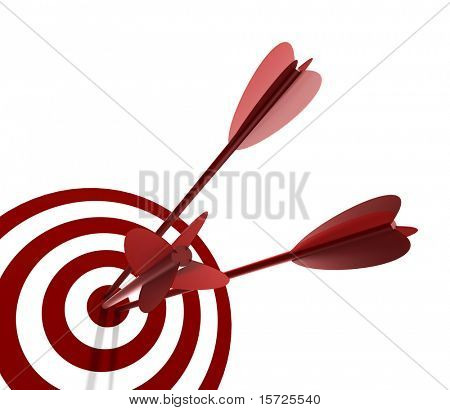 Red and White target with three arrow - isolated on white