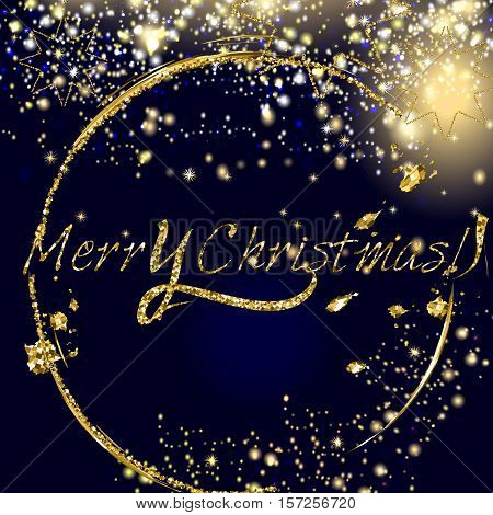 Merry Christmas vector golden and silver glitter particles background effect for luxury greeting card. Star dust sparks in explosion on dark background. Sparkling texture