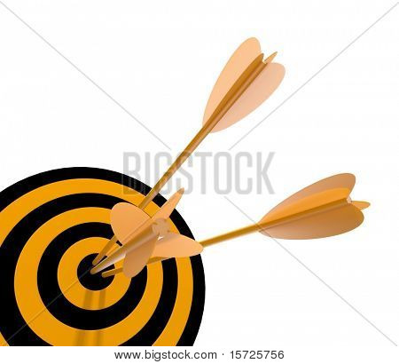 orange and black target with arrow - isolated on white