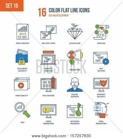 Color Flat Line icons set of seo and data safety, development, technology, analytics search information and website SEO optimization, marketing, security, support. Editable Stroke