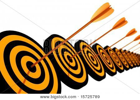 Row orange and black target with arrow - isolated on white