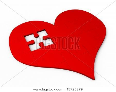 red puzzle pieces In the form of heart (breaked heart)