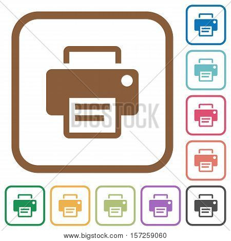 Printer simple icons in color rounded square frames on white background