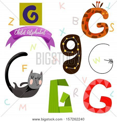 Bright Alphabet Set In Vector.g Letter-stylish 6 Hand Drawn Letters In Different Designs.cartoon Abs