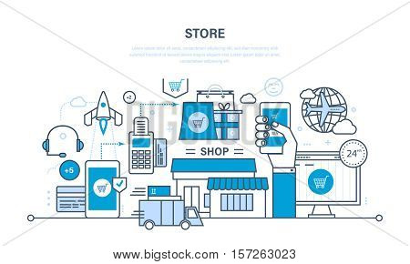 Full cycle purchase of product, from selection product and order, payment protection, to delivery of the order. Online shop, technical support. Illustration thin line design