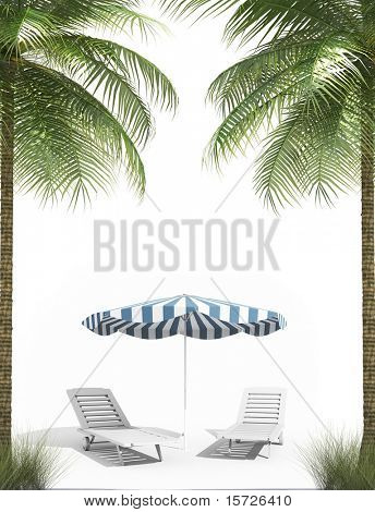 Pending holidays - isolated palm trees umbrella and Plank bed