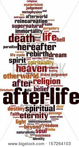 Afterlife word cloud concept. Vector illustration on white