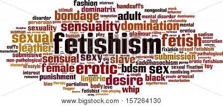 Fetishism word cloud concept. Vector illustration on white