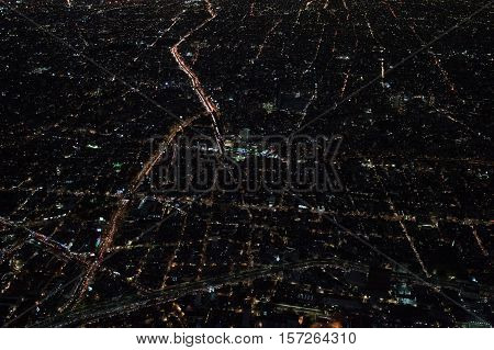 Mexico City Aerial Night View Panorama Of Heavy Traffic