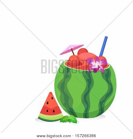 Watermelon juice and fresh watermelon with tube and orchid.