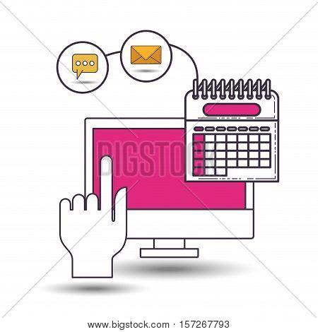 user with advantages of internet and digital technology image vector illustration design