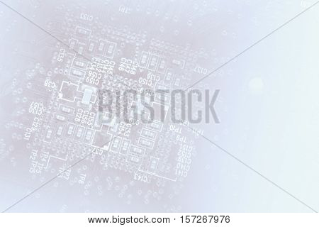 Technology Concept Background Silhouette Of A Computer Motherboard With Light Blue Colors, Faded Int
