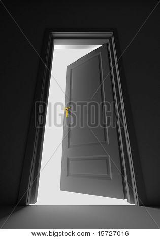 Inside a room with opened door