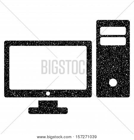 Personal Computer grainy textured icon for overlay watermark stamps. Flat symbol with unclean texture. Dotted vector black ink rubber seal stamp with grunge design on a white background.